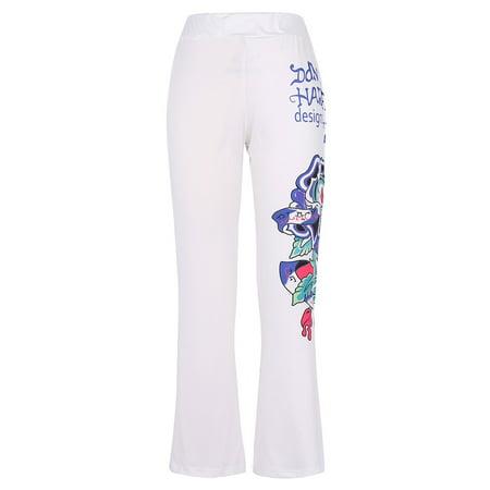 Womens Flare Leg Pant (Gamiss Skull Print Pants Plus Size Women Casual High Waist Flare Wide Leg Long)