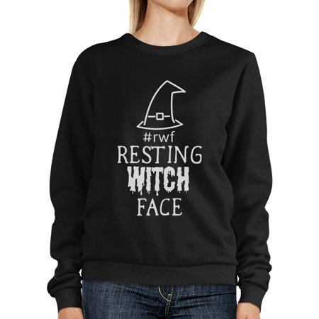 Resting Witch Face Black Crew Neck Sweatshirt Funny Halloween - Neck Face Halloween