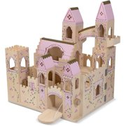 Melissa & Doug Folding Princess Castle Wooden Dollhouse (Pretend Play Set, Drawbridge and Turrets, Sturdy Construction, 27 H x 15.25 W x 17.5 L)