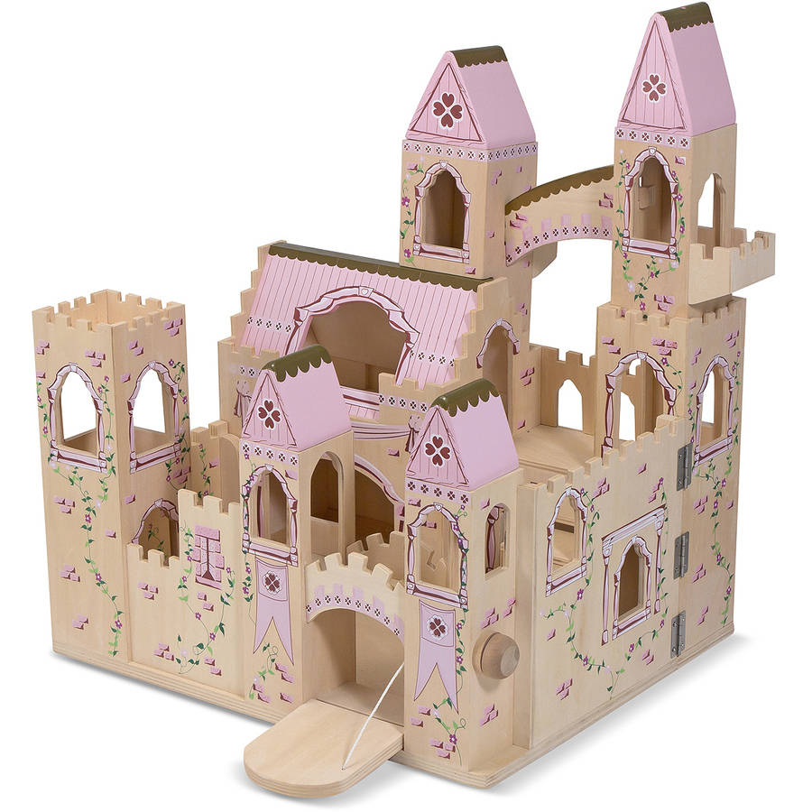 Melissa & Doug Folding Wooden Princess Castle Dollhouse with Drawbridge and Turrets