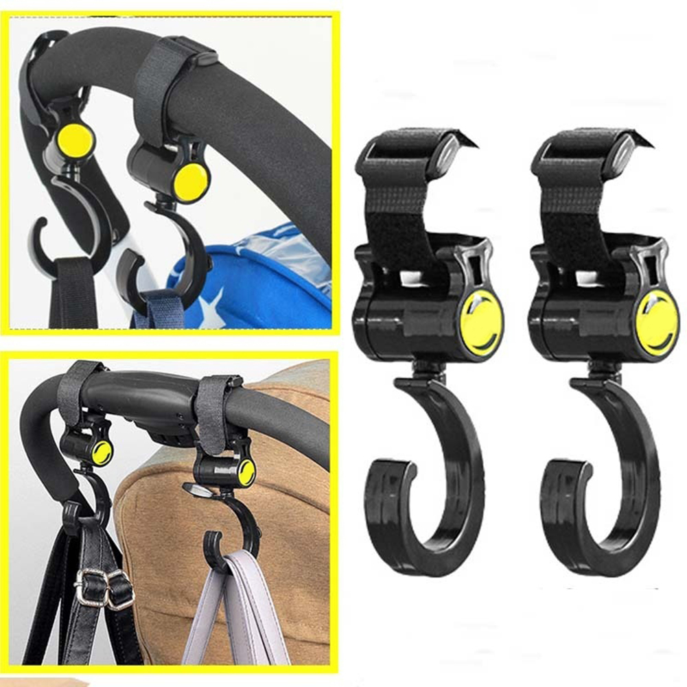 Micelec 2Pcs Baby Buggy Clips Strong Strap Car Seat Back Carriage Stroller Hanging Hooks