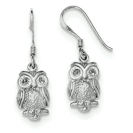Shepherd Hook Earrings - Sterling Silver Rhodium-plated CZ Owl Shepherd Hook Earrings