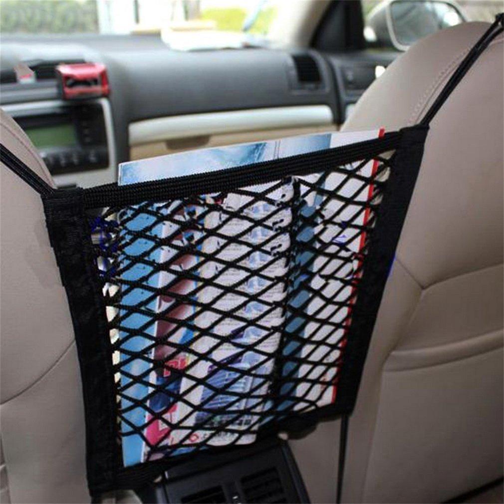 ZPOKA Car Net Pocket Handbag Holder Seat Back Organizer Mesh Large Capacity Bag for Purse Storage Phone Documents Pocket,Barrier of Backseat Pet Kids,Cargo Tissue Holder Black