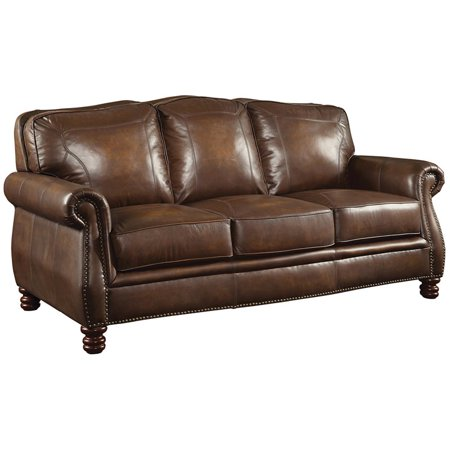 Bowery Hill Leather Sofa with Rolled Arms in Hand Rubbed Brown Hand Rubbed Leather Finish