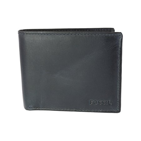 Fossil Men's Derrick Rfid Blocking Flip Id Bifold Leather Wallet - Midnight Navy Blue Bi Fold Wallet