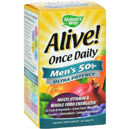 - Nature's Way Alive! Once Daily Men's 50+ Ultra Potency Multivitamin & Whole Food Energizer Tablets 60 ea (Pack of 2)