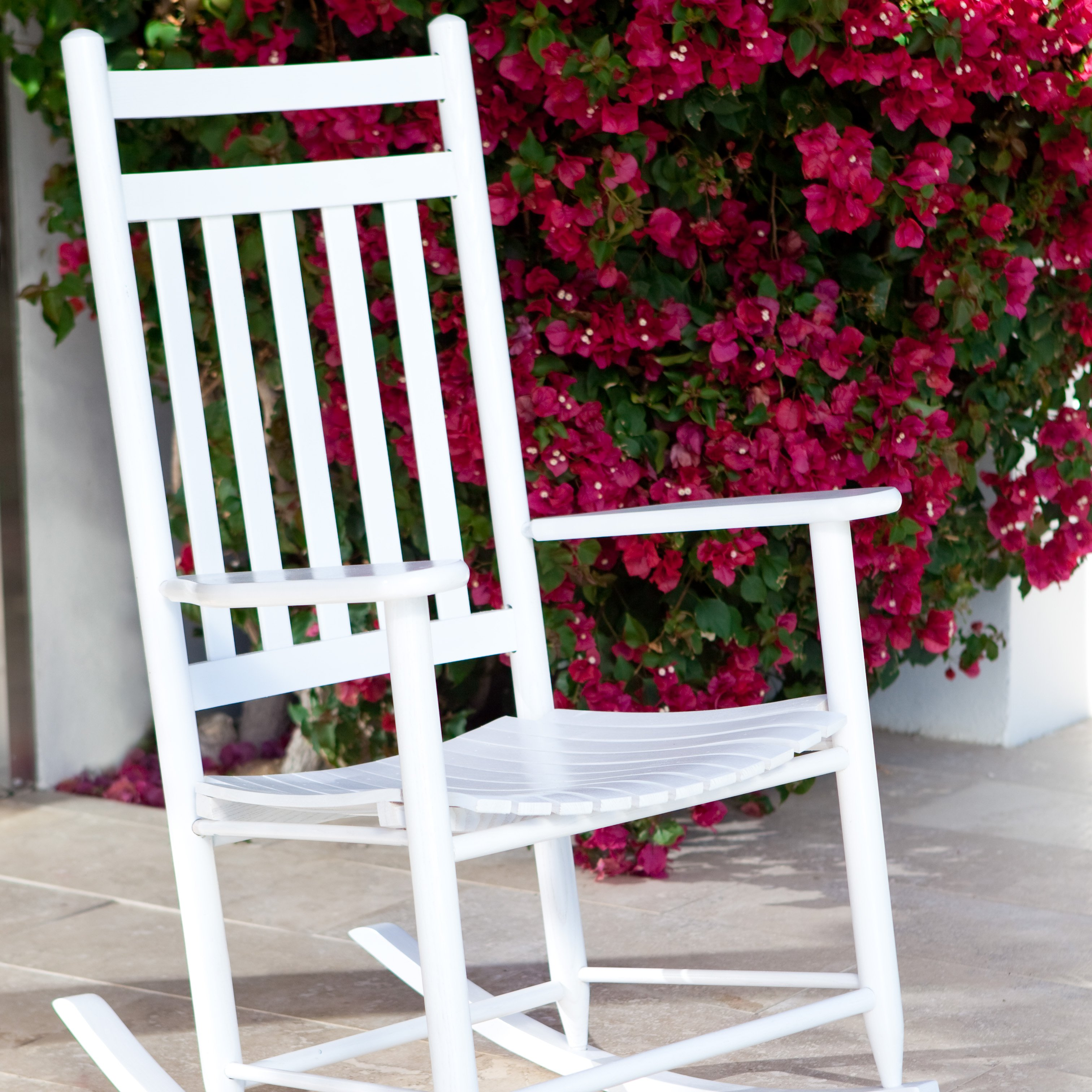 Dixie Seating Indoor/Outdoor Slat Rocking Chair - White