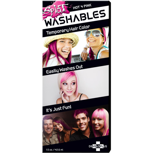Developlus Splat Washables Hot 4 Pink Hair Color, 1.5 oz