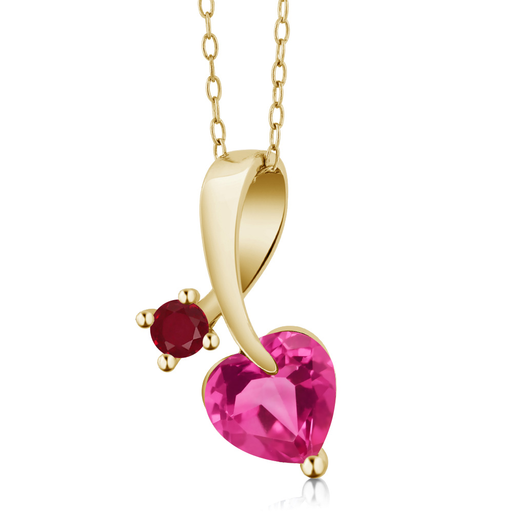 1.54 Ct Heart Shape Pink Created Sapphire Red Ruby 14K Yellow Gold Pendant by Ruby Pins