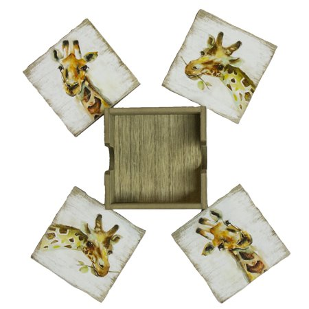 Giraffe Lovers 4 Piece High Quality Wooden Coaster - Wooden Coasters