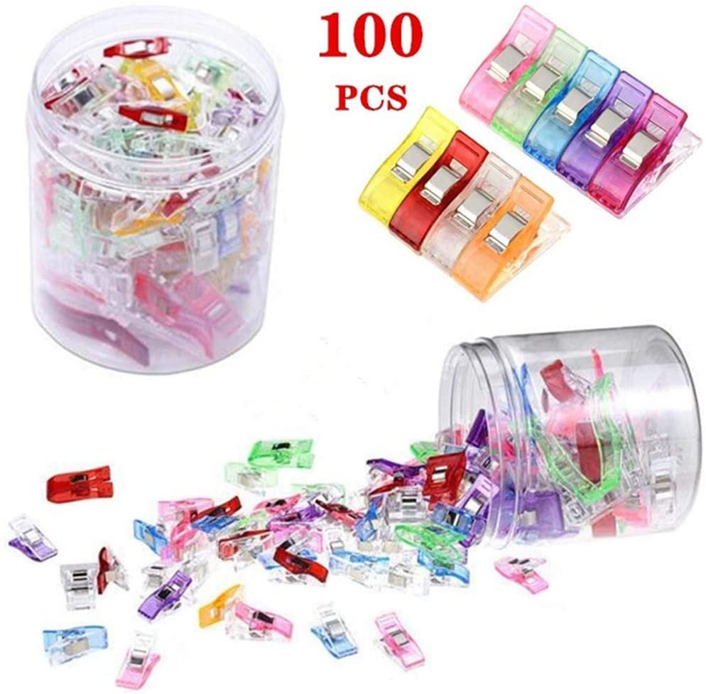 URBEST Sewing Clips 100 Pcs Blinder Clips Multi-Purpose Clips Multi-Color Paper Clips