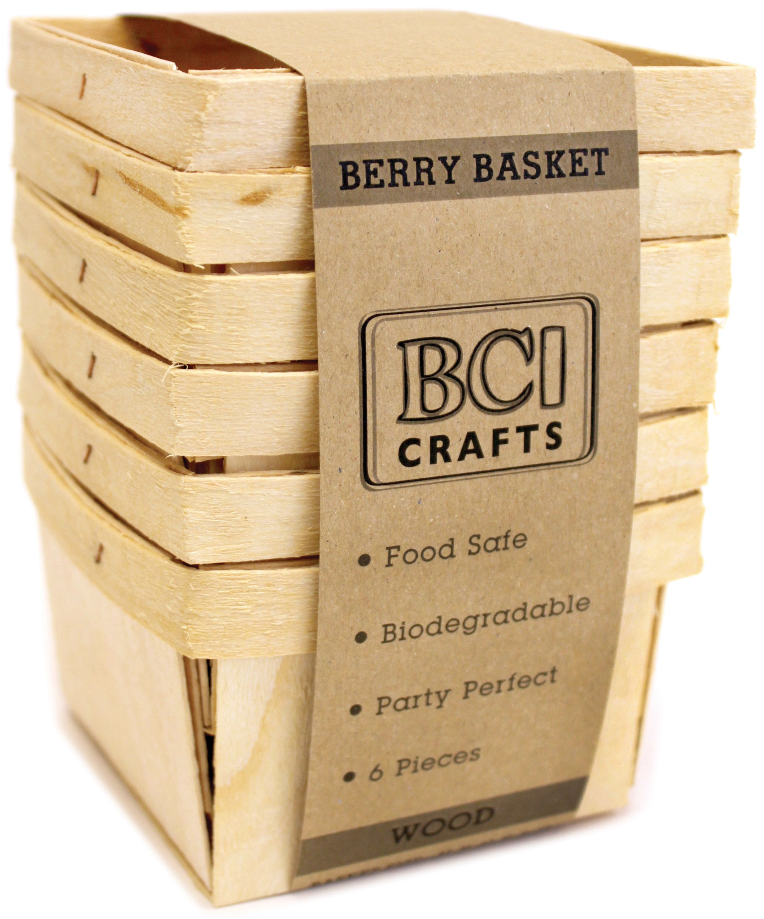 Darice Natural Paper Berry Basket 6 Piece