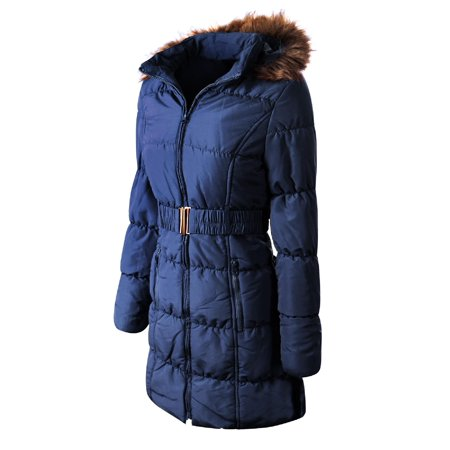 Made by Olivia Women's Casual Lightweight Fur Lining Hooded Quilted Zip Up Coat with Waist Belt Navy Blue M