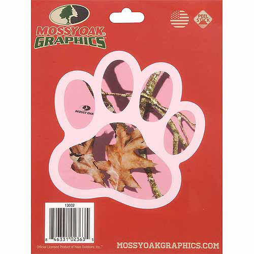 Mossy Oak Graphics 13032 Pink Camouflage Break-Up Pink Dog Paw Decal Multi-Colored