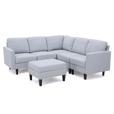 - Bridger Fabric Sectional Couch with Ottoman, Light Grey