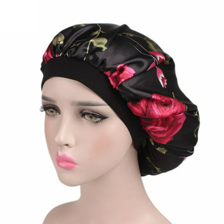 Soft Satin Hair Bonnet for Women Girls Silk Sleeping Showering Washing Face Salon Cap Black Flowers - Bald Cap With Hair On Sides