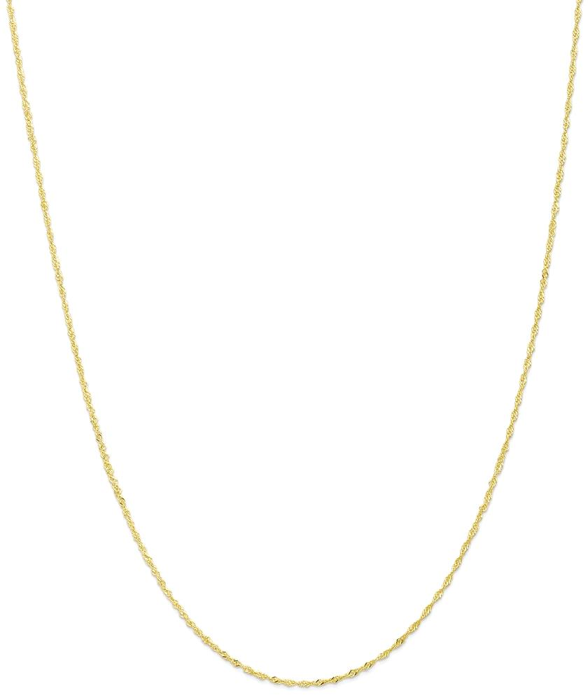 ICE CARATS 10kt Yellow Gold 1.10mm Link Singapore Chain Necklace 18 Inch Pendant Charm Figaro Fine Jewelry Ideal Gifts... by IceCarats Designer Jewelry Gift USA