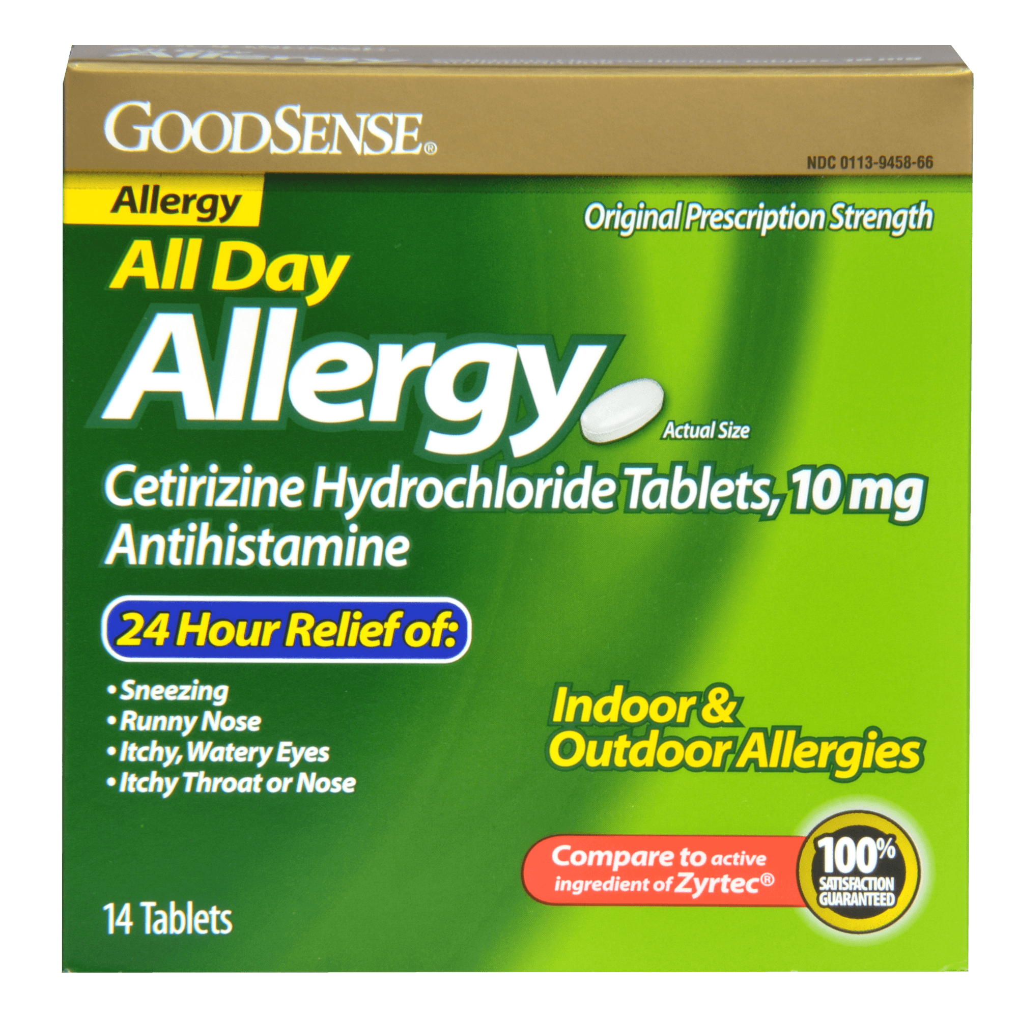 GoodSense All Day Allergy Cetirizine HCl Antihistamine Tablets, 10 mg, 14 Ct