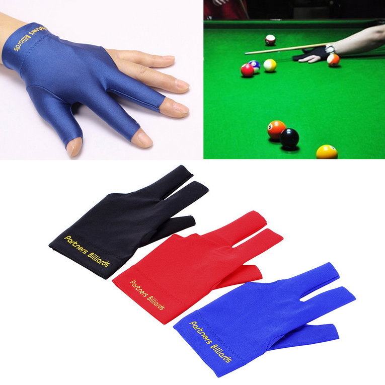 Spandex Snooker Billiard Cue Glove Pool Left Hand Open Three Finger Accessory by