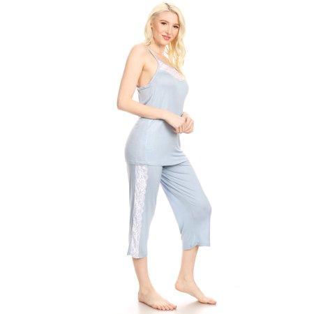 - 1JVSET18C Womens Capri Set Sleepwear Pajamas Woman Sleeveless Sleep Nightshirt Blue S