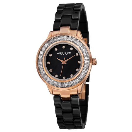 Women's Quartz Crystal Markers Ceramic Black Bracelet Watch with FREE Bangle