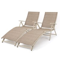 Walnew Set of 2 Patio Lounge Chairs Adjustable Pool Chaise Lounge Chairs Folding Outdoor Recliners,Beige