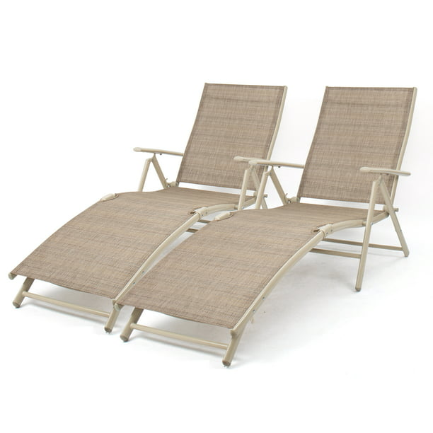 Walnew Set Of 2 Patio Lounge Chairs Adjustable Pool Chaise Lounge Chairs Folding Outdoor Recliners Beige Walmart Com Walmart Com