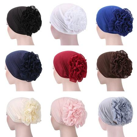 Moderna Muslim Hijab Turban Arabic Head Scarf Flower Women Chemo Cap Cotton Bandana (White Bandanas In Bulk)