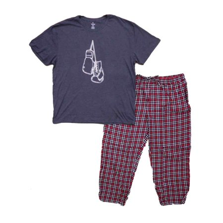 Mens 2pc Gray Graphic Tee & Red Plaid Flannel Pants Sleepwear Pajama Set (Stafford Flannel)