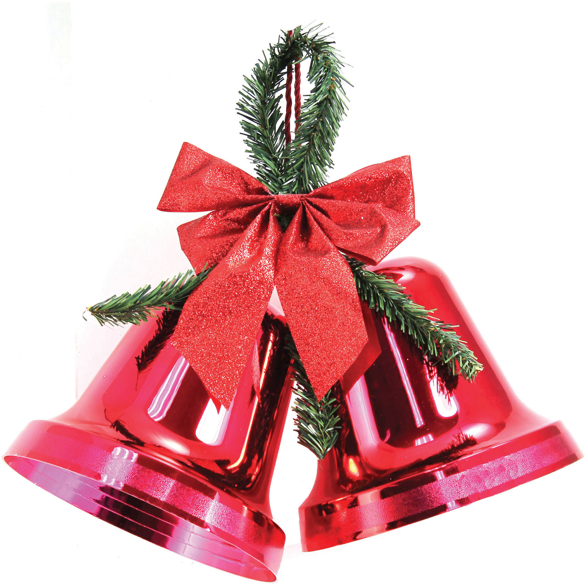 "Holiday Time Christmas Decor 9.5"" Double Bell Red, Indoor ..."