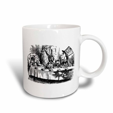 3dRose Mad Hatter tea party illustration by John Tenniel. Alice in Wonderland - Ceramic Mug, 11-ounce - Mad Hatter Party