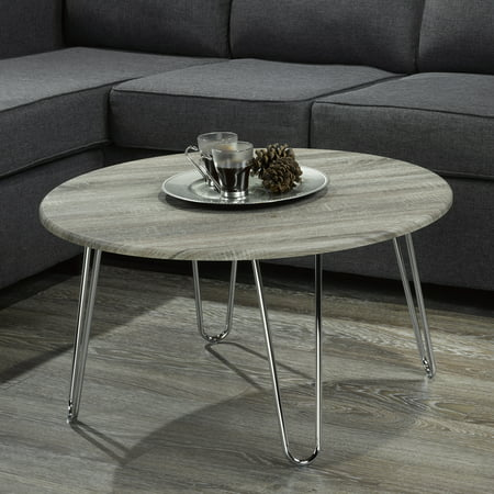 Faux Driftwood/Chrome Coffee Table ()