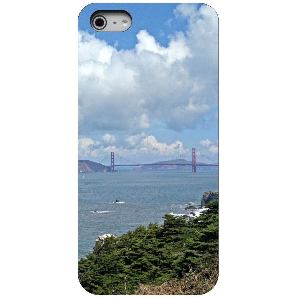 CUSTOM Black Hard Plastic Snap-On Case for Apple iPhone 5 / 5S / SE - Golden Gate Bridge San Francisco