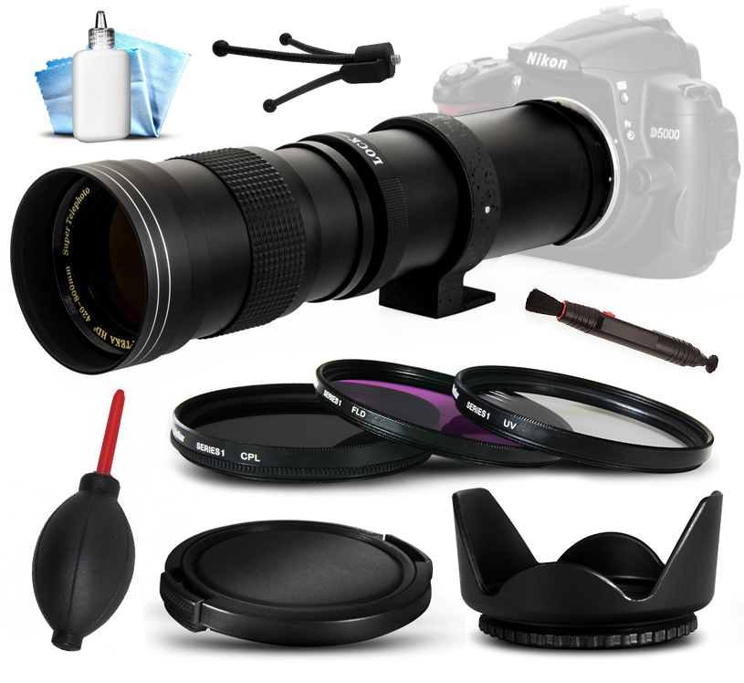 Opteka 420-800mm f8.3 Telephoto Lens with Filters, Hood, ...