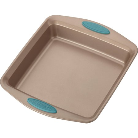 """Rachael Ray Cucina Nonstick Bakeware Square Cake Pan, 9"""", Latte Brown with Agave Blue Handles"""