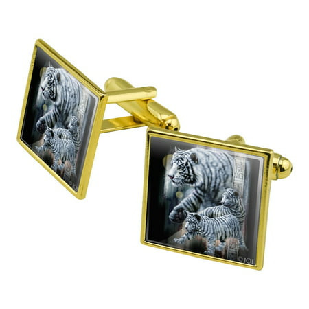 White Bengal Tigers Square Cufflink Set - Silver or Gold Pave White Gold Cufflinks