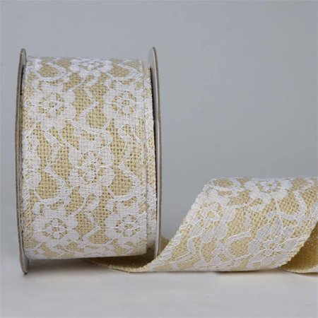 Efavormart Natural Color Wedding Banquet Floral Lace Stitched Burlap Ribbon 2.5