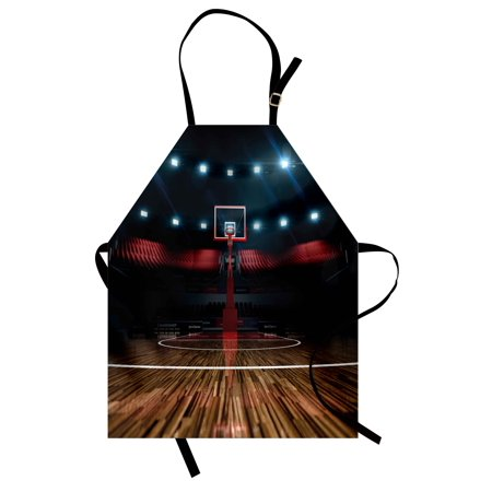 Teen Room Apron Professional Basketball Arena Stadium before the Game Championship Sports Image, Unisex Kitchen Bib Apron with Adjustable Neck for Cooking Baking Gardening, Multicolor, by Ambesonne (Halloween Baking Championship)