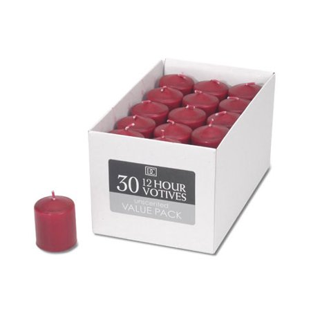 Votive Candles - Unscented - Red - 12 Hour - 30 pieces (30 Candles)