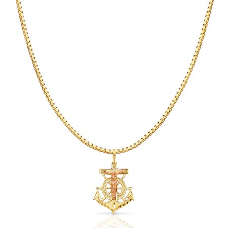 14k Crucifix Pendant - 14K Two Tone Solid Gold Religious Crucifix Anchor Charm Pendant with 1.2mm Box Chain Necklace