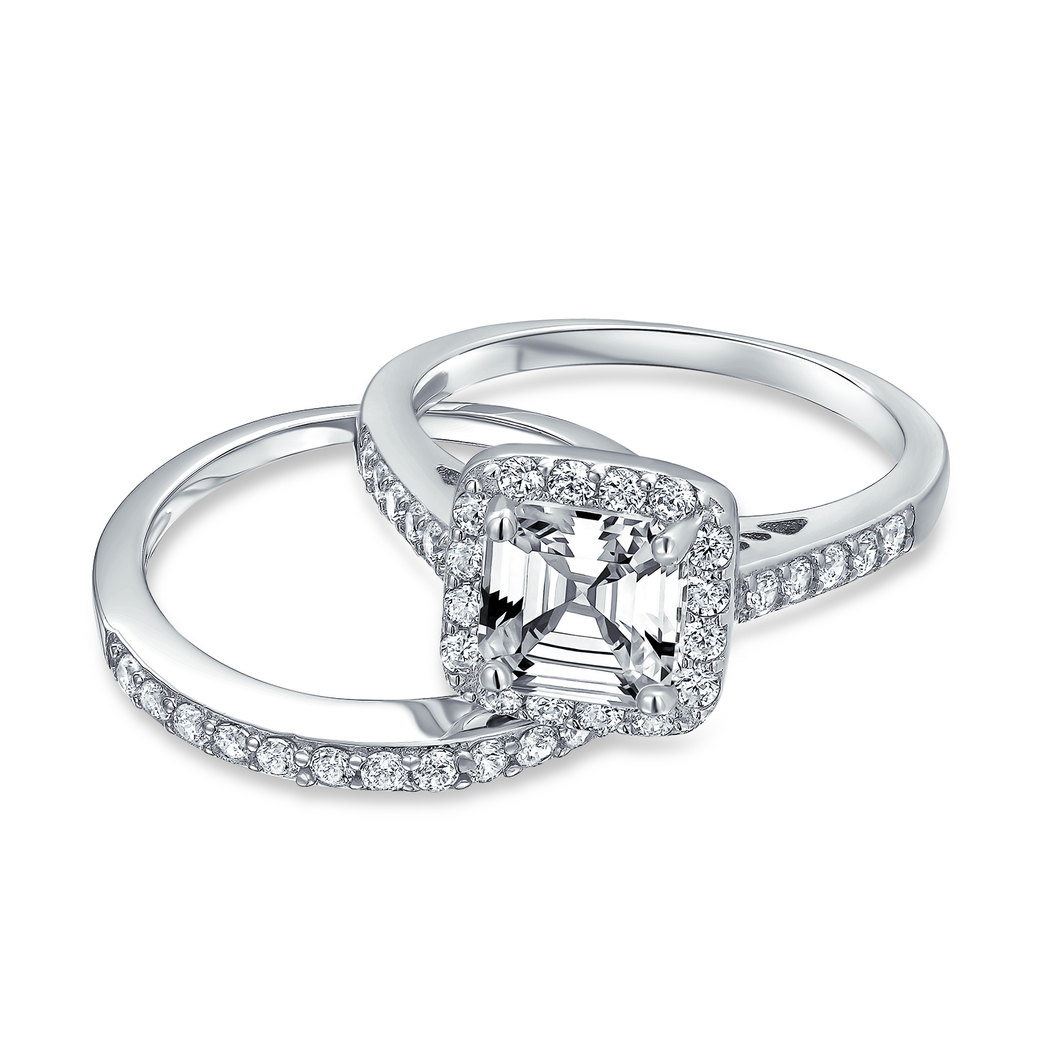 Details about  /2CT Art Deco Solitaire AAA CZ Round Engagement Wedding Band Ring Set