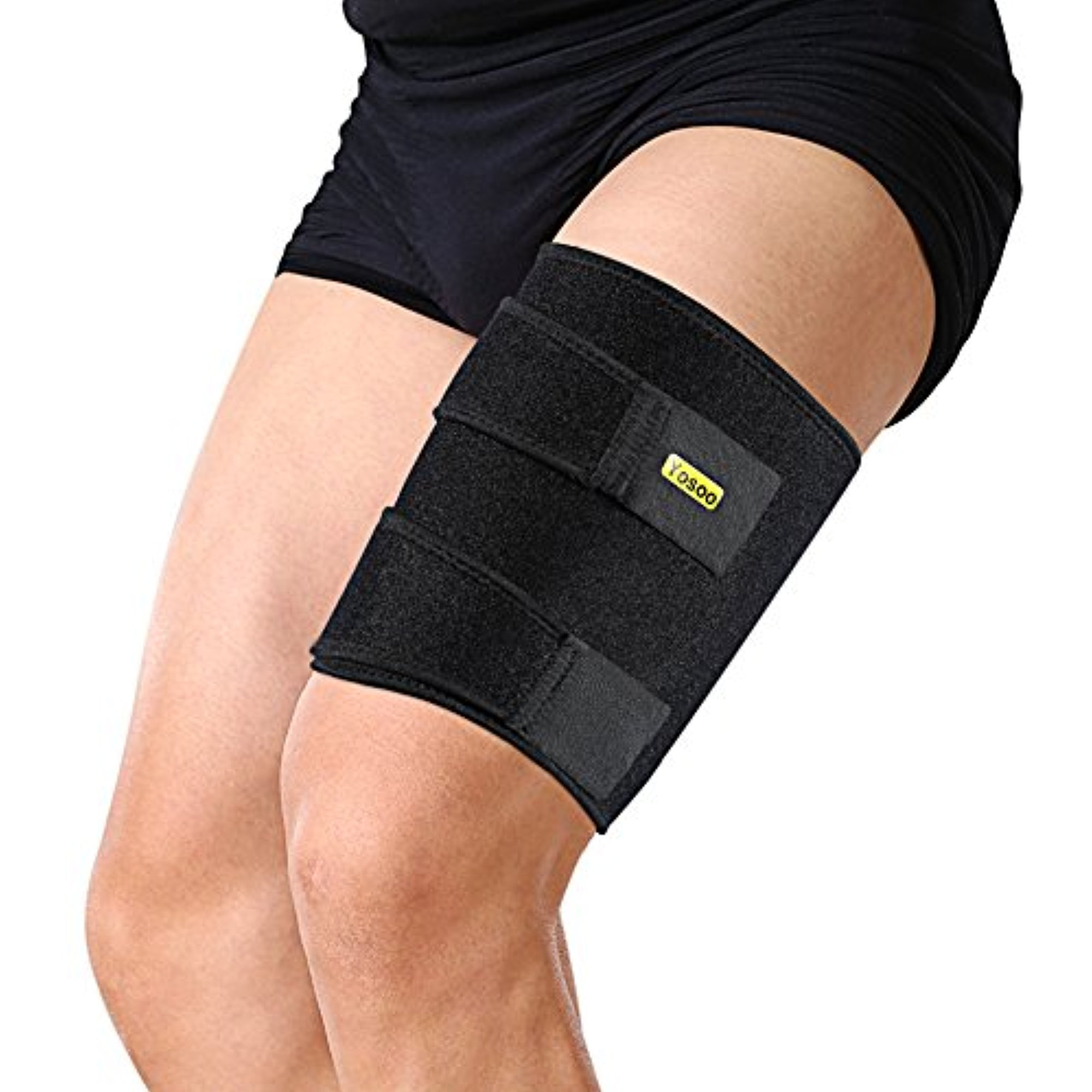 Yosoo Thigh Wrap - Adjustable Neoprene Hamstring Brace for Pulled Hamstring Strain Injury Tendonitis Rehab and Recovery, Fits Men and Women, Black
