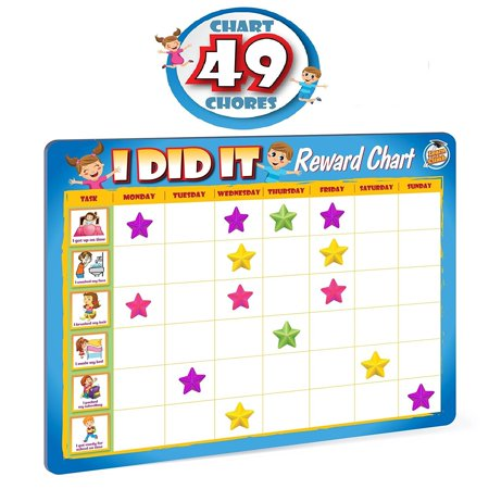 Rewards Chore Chart for Kids - 49 Responsibility and Behavior Chores - Ultra Thick Magnetic Board - Us Kids Size Chart