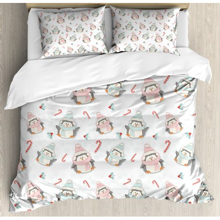 Candy Cane Queen Size Duvet Cover Set, Cute Christmas Boy and Girl Penguins with Scarf Hats Traditional Holly Berries, Decorative 3 Piece Bedding Set with 2 Pillow Shams, Multicolor, by Ambesonne ()