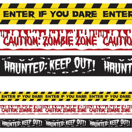 Halloween Vinyl Banners (Halloween Fright Tape 30' Plastic Banners (3 Pack) - Party)