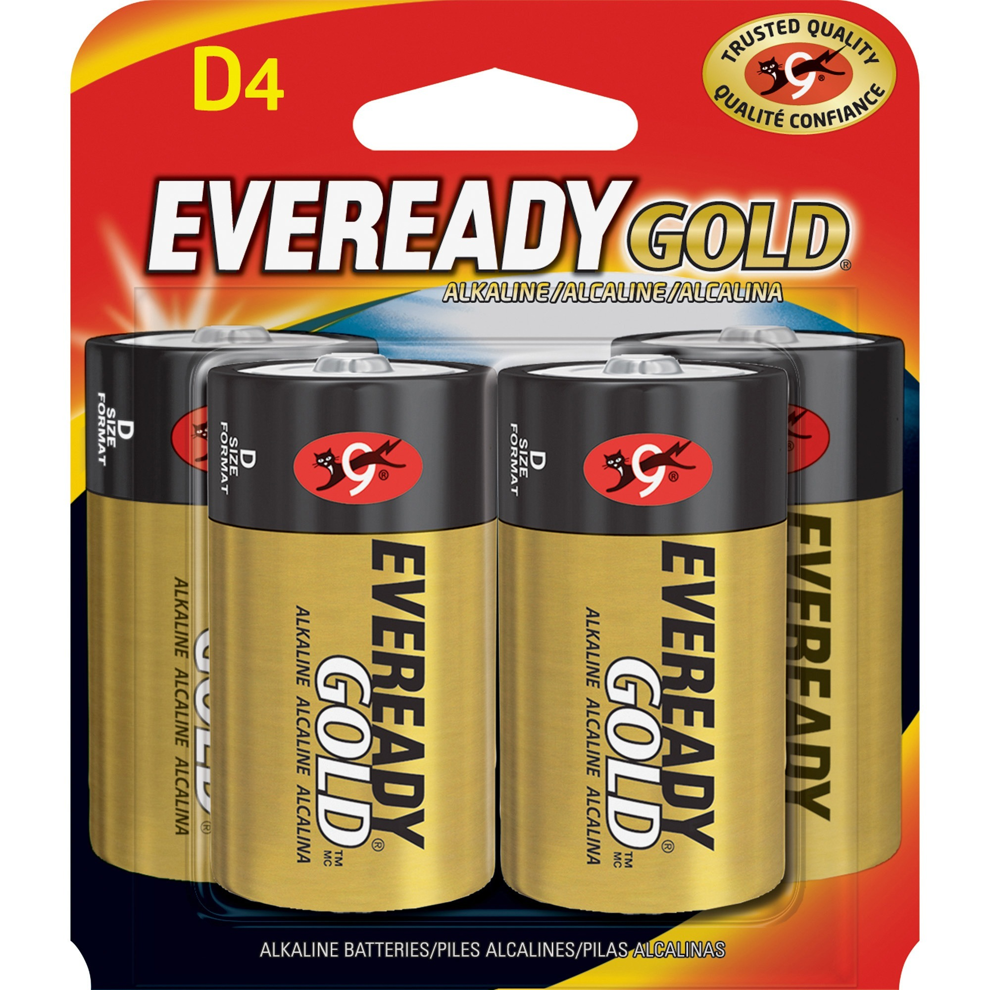 Eveready, EVEA95BP4, Gold Alkaline D Batteries, 4 / Pack, Red