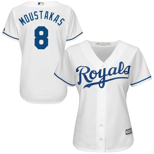 Mike Moustakas Kansas City Royals Majestic Women's Cool Base Player Jersey White by MAJESTIC LSG