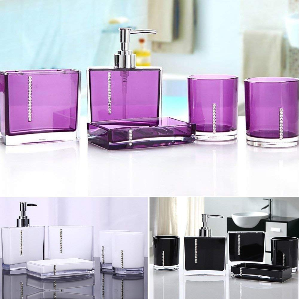 WALFRONT 5PC/Set Acrylic Bathroom Accessories Bath Cup ...