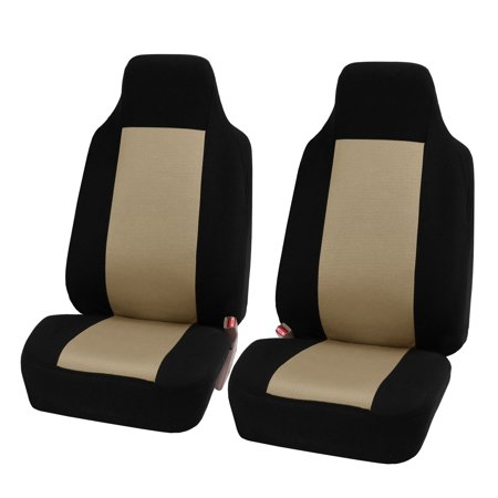 FH Group 3D Air-mesh Car Seat Covers, Front Set, Beige and