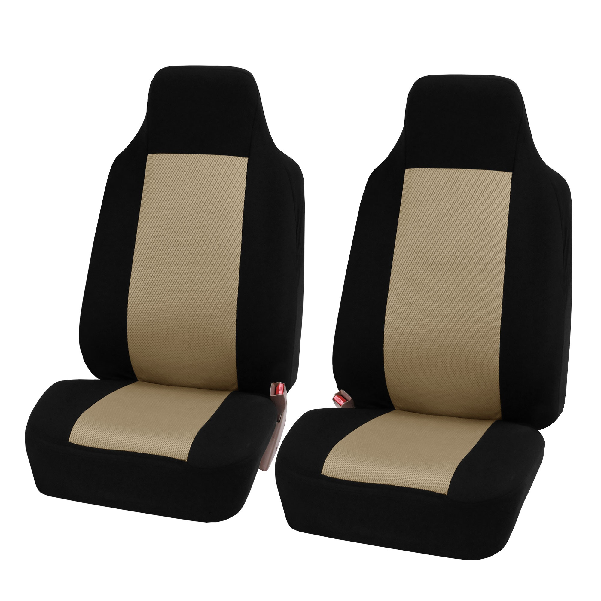 FH Group 3D Air-mesh Car Seat Covers, Front Set, Beige and Black